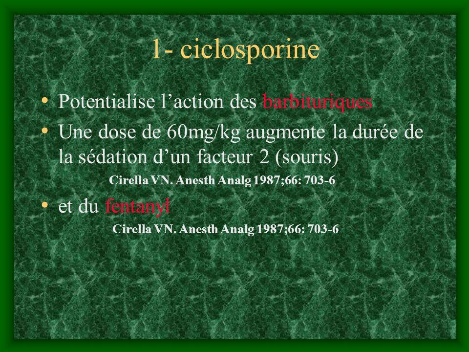 1- ciclosporine Potentialise laction des barbituriques Une dose de 60mg/kg augmente la durée de la sédation dun facteur 2 (souris) Cirella VN. Anesth