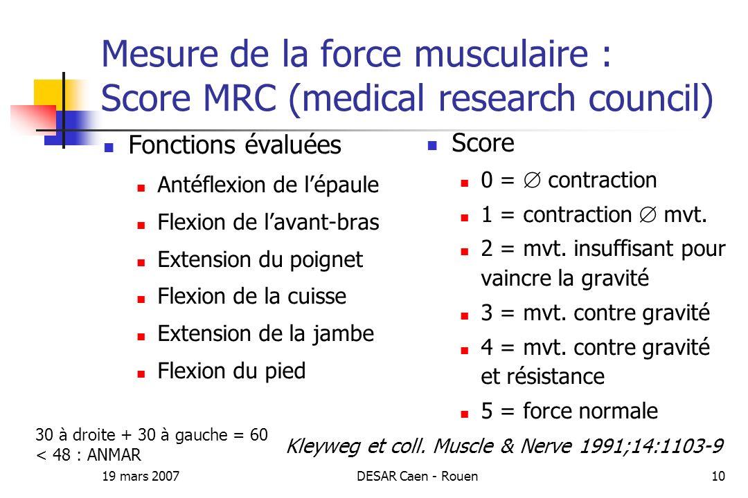 19 mars 2007DESAR Caen - Rouen10 Mesure de la force musculaire : Score MRC (medical research council) Fonctions évaluées Antéflexion de lépaule Flexio