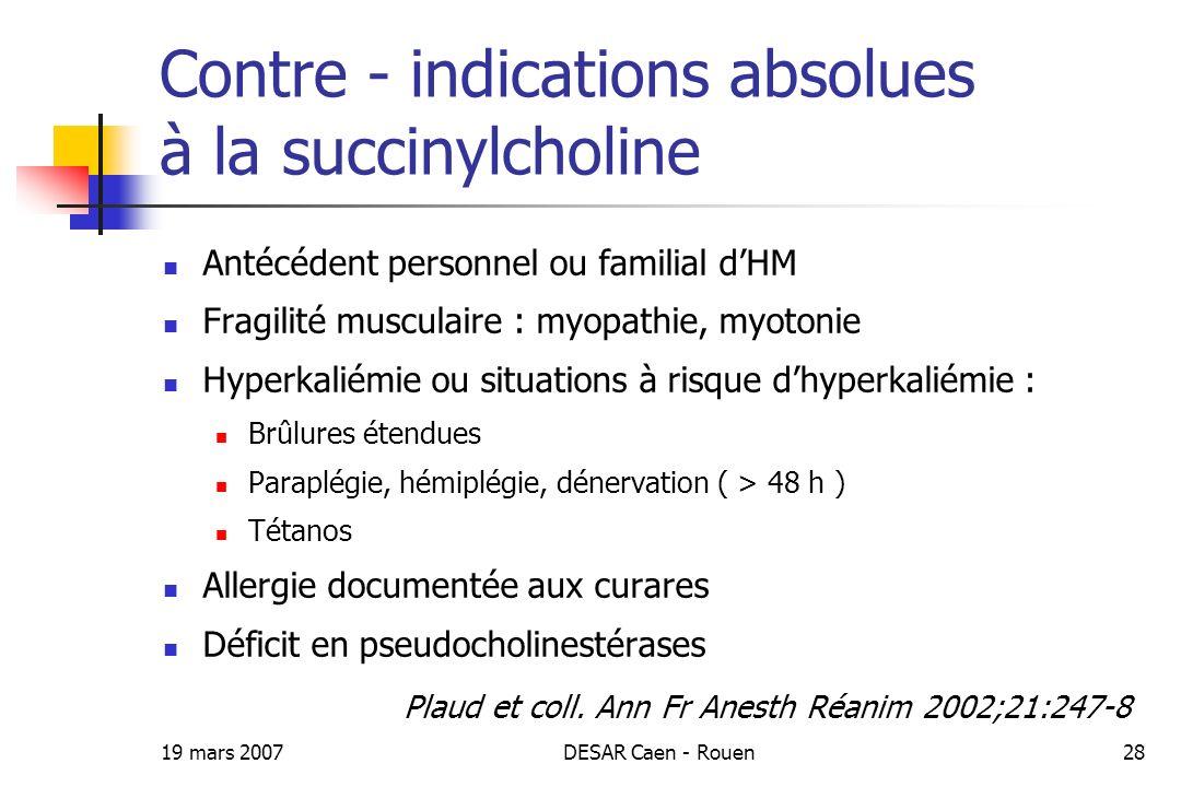 19 mars 2007DESAR Caen - Rouen28 Contre - indications absolues à la succinylcholine Antécédent personnel ou familial dHM Fragilité musculaire : myopat