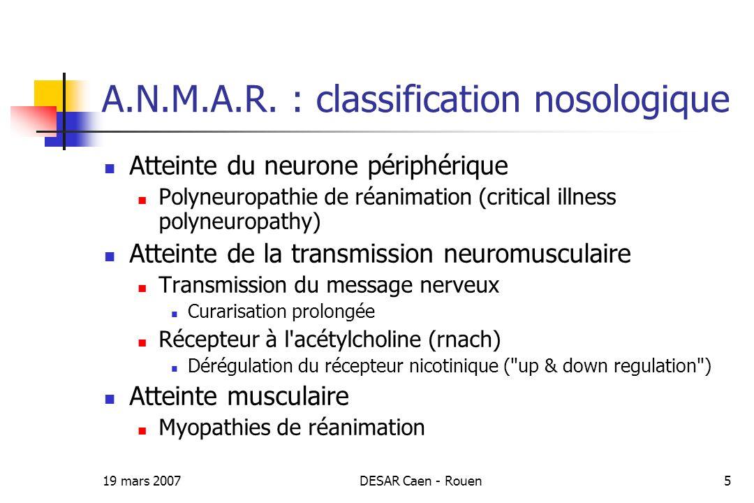 19 mars 2007DESAR Caen - Rouen5 A.N.M.A.R. : classification nosologique Atteinte du neurone périphérique Polyneuropathie de réanimation (critical illn