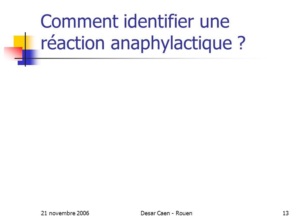 21 novembre 2006Desar Caen - Rouen13 Comment identifier une réaction anaphylactique ?