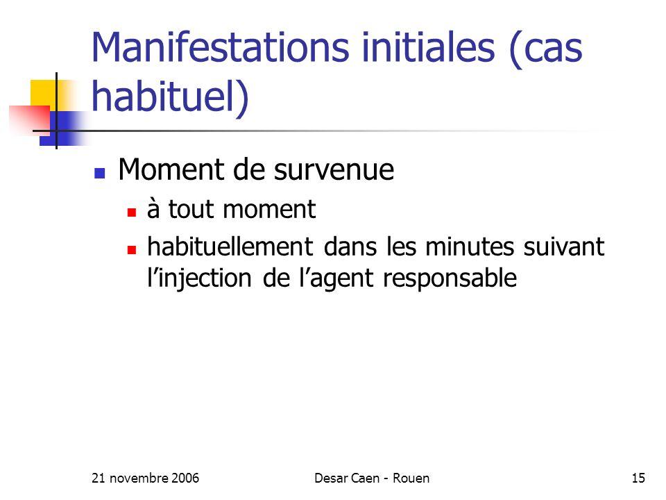 21 novembre 2006Desar Caen - Rouen15 Manifestations initiales (cas habituel) Moment de survenue à tout moment habituellement dans les minutes suivant linjection de lagent responsable