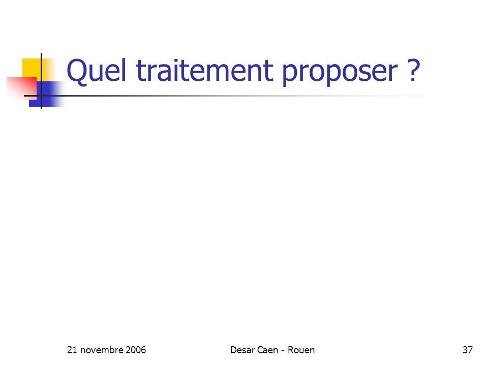 21 novembre 2006Desar Caen - Rouen37 Quel traitement proposer ?
