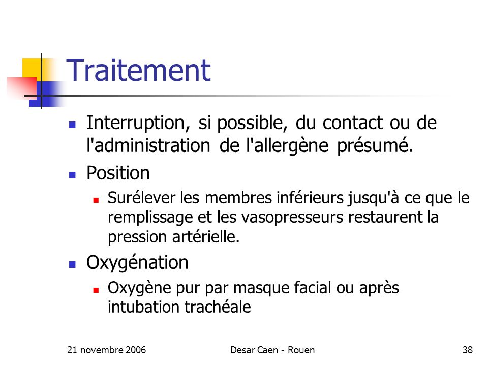 21 novembre 2006Desar Caen - Rouen38 Traitement Interruption, si possible, du contact ou de l'administration de l'allergène présumé. Position Suréleve