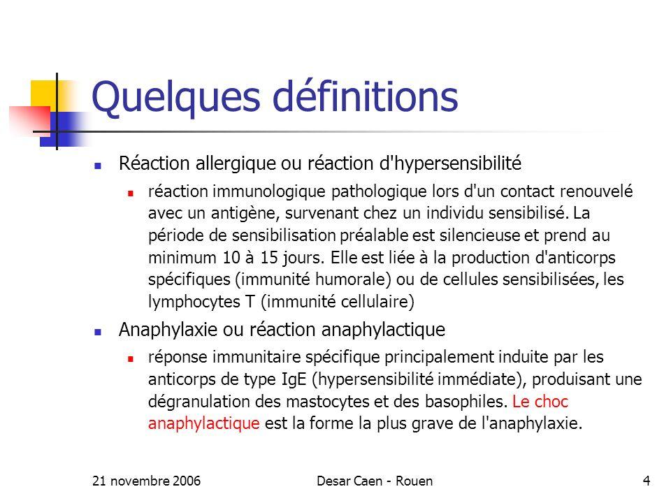 21 novembre 2006Desar Caen - Rouen4 Quelques définitions Réaction allergique ou réaction d hypersensibilité réaction immunologique pathologique lors d un contact renouvelé avec un antigène, survenant chez un individu sensibilisé.