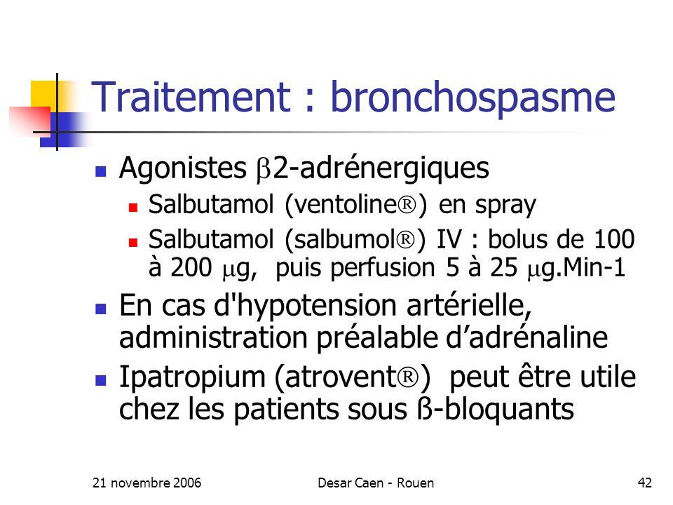 21 novembre 2006Desar Caen - Rouen42 Traitement : bronchospasme Agonistes 2-adrénergiques Salbutamol (ventoline ) en spray Salbutamol (salbumol ) IV : bolus de 100 à 200 g, puis perfusion 5 à 25 g.Min-1 En cas d hypotension artérielle, administration préalable dadrénaline Ipatropium (atrovent ) peut être utile chez les patients sous ß-bloquants