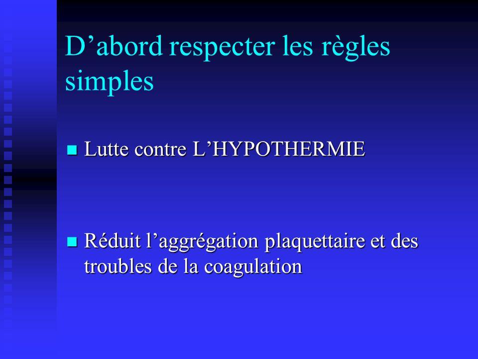 Dabord respecter les règles simples Lutte contre LHYPOTHERMIE Lutte contre LHYPOTHERMIE Réduit laggrégation plaquettaire et des troubles de la coagula