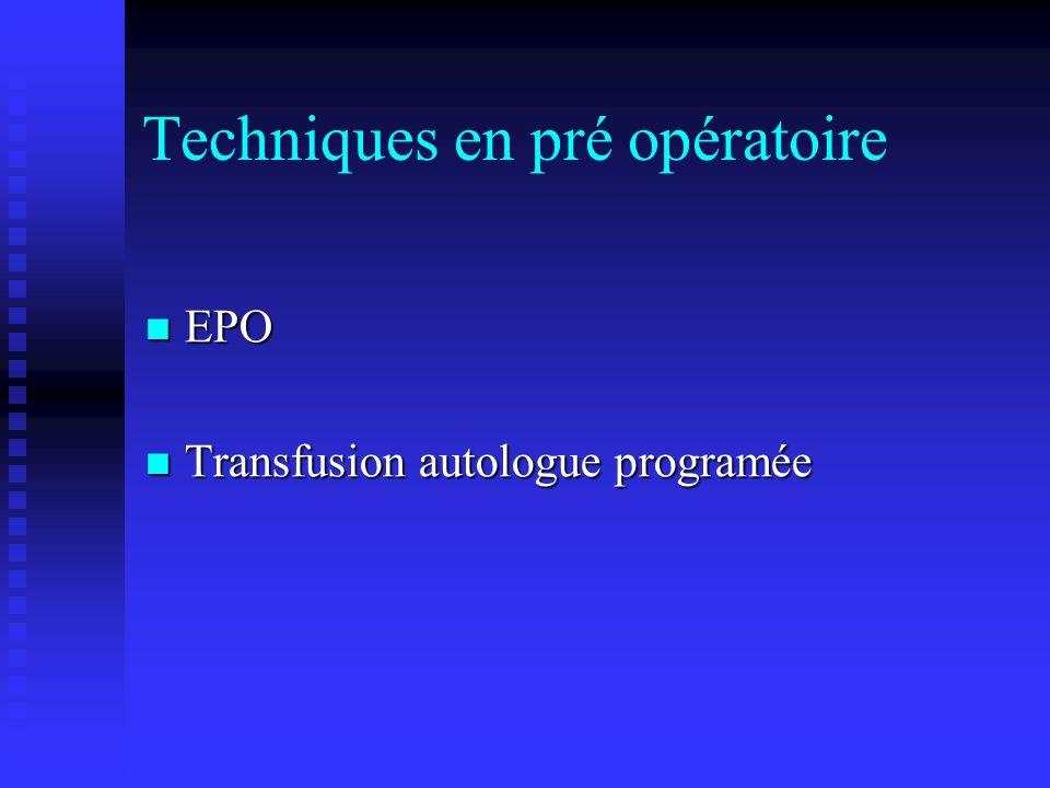 Techniques en pré opératoire EPO EPO Transfusion autologue programée Transfusion autologue programée