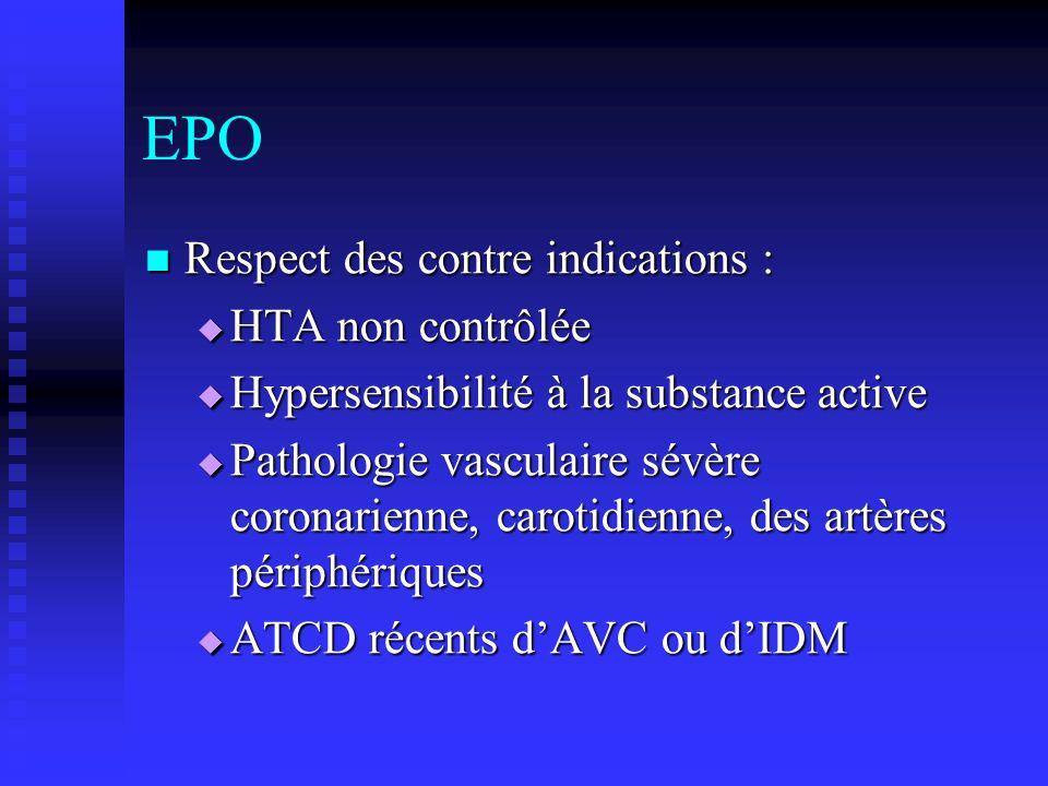 EPO Respect des contre indications : Respect des contre indications : HTA non contrôlée HTA non contrôlée Hypersensibilité à la substance active Hyper
