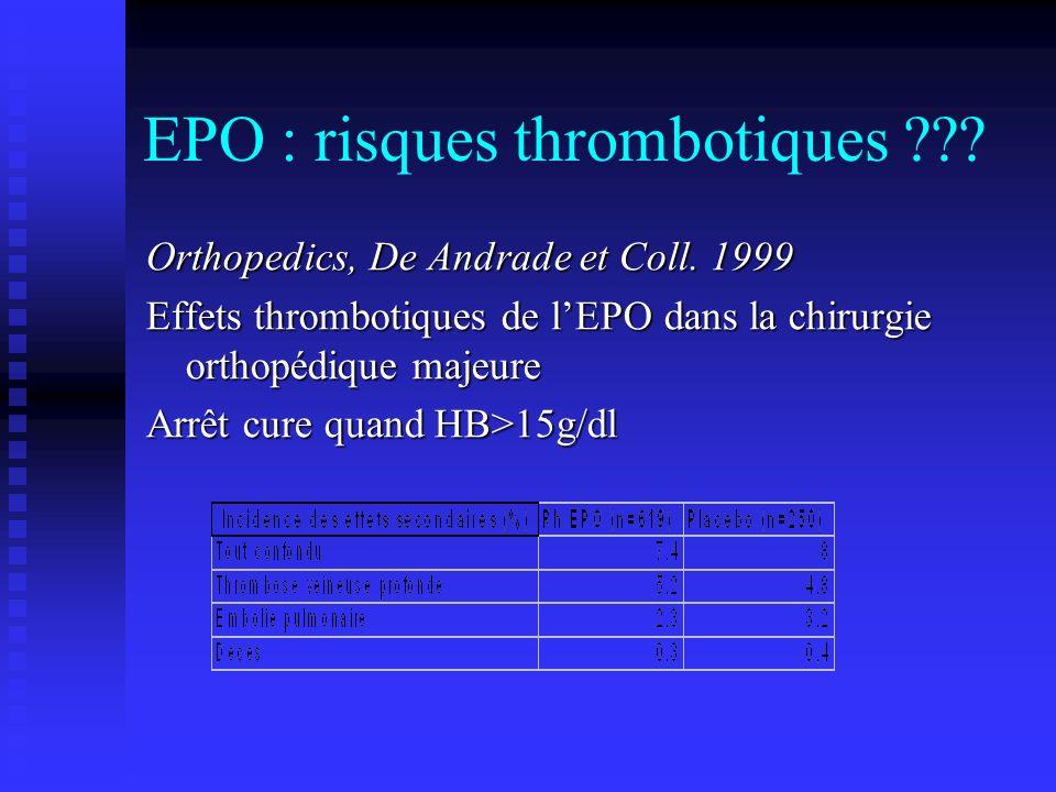 EPO : risques thrombotiques ??? Orthopedics, De Andrade et Coll. 1999 Effets thrombotiques de lEPO dans la chirurgie orthopédique majeure Arrêt cure q