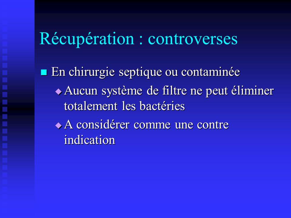 Récupération : controverses En chirurgie septique ou contaminée En chirurgie septique ou contaminée Aucun système de filtre ne peut éliminer totalemen