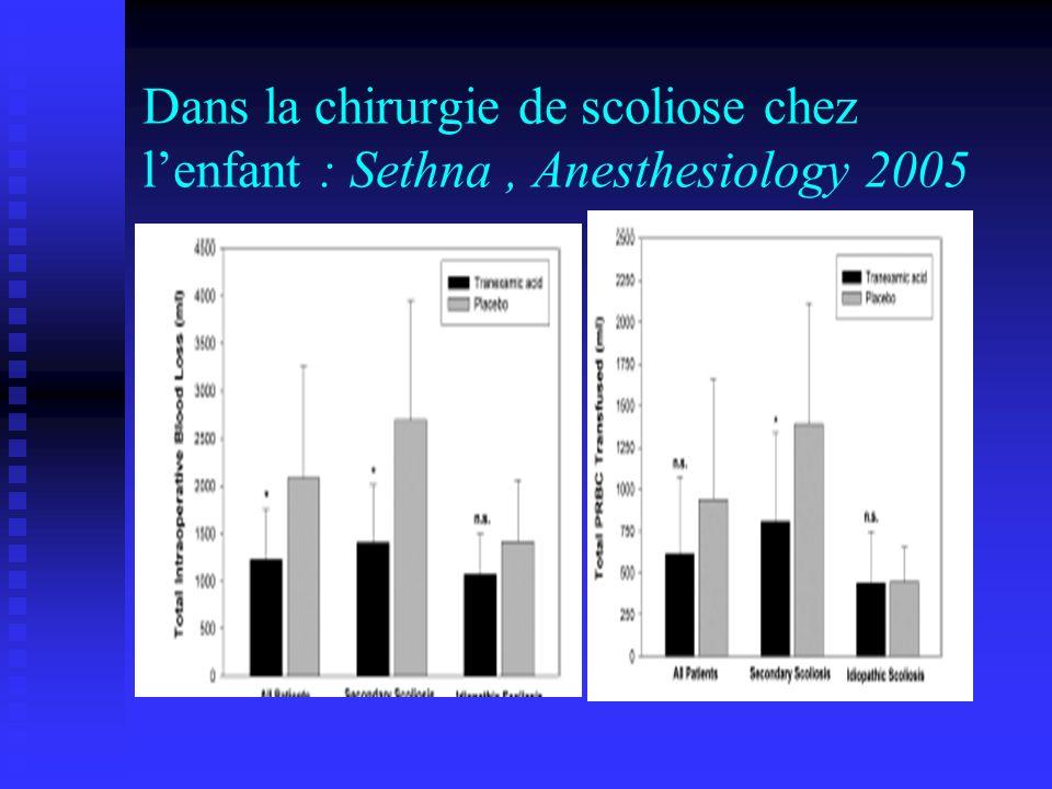 Dans la chirurgie de scoliose chez lenfant : Sethna, Anesthesiology 2005