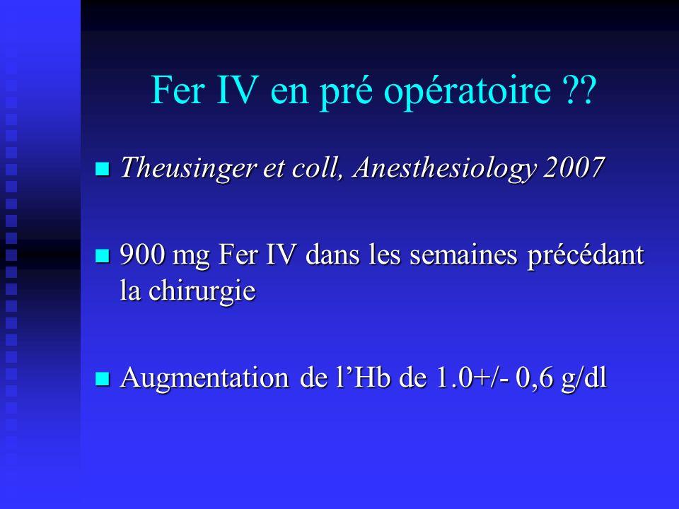 Fer IV en pré opératoire ?? Theusinger et coll, Anesthesiology 2007 Theusinger et coll, Anesthesiology 2007 900 mg Fer IV dans les semaines précédant