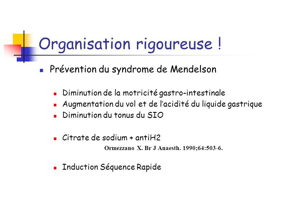 Organisation rigoureuse ! Prévention du syndrome de Mendelson Diminution de la motricité gastro-intestinale Augmentation du vol et de lacidité du liqu