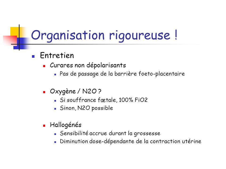 Organisation rigoureuse ! Entretien Curares non dépolarisants Pas de passage de la barrière foeto-placentaire Oxygène / N2O ? Si souffrance fœtale, 10