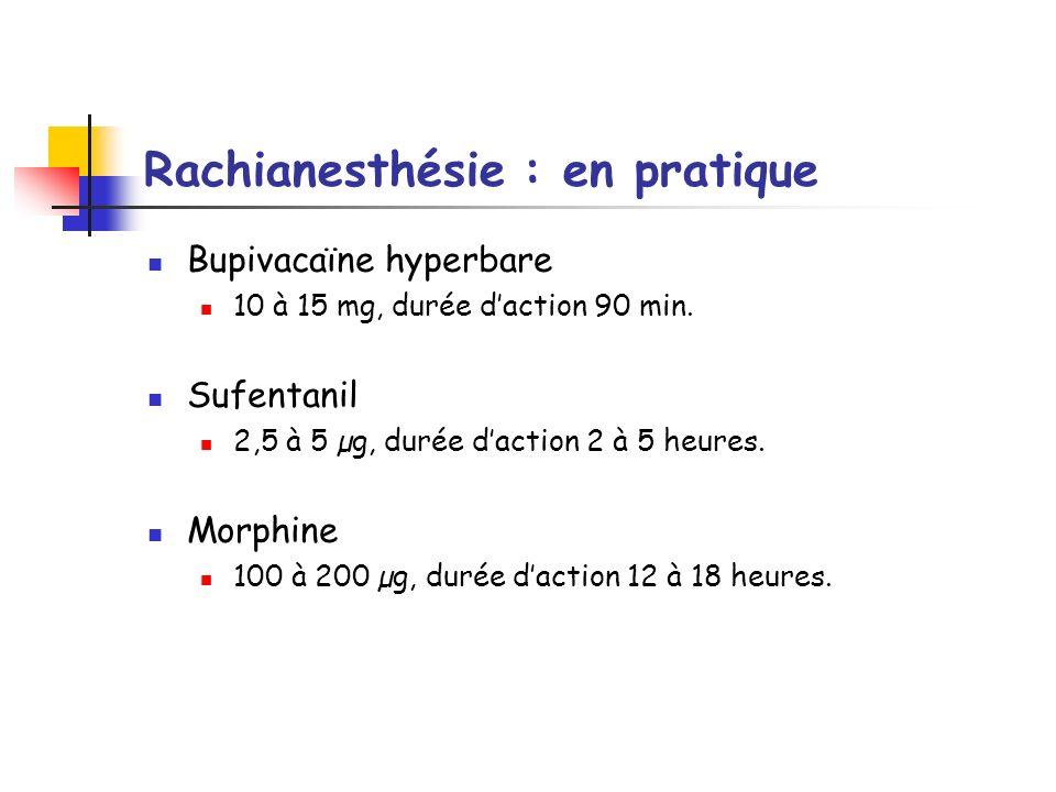 Rachianesthésie : en pratique Bupivacaïne hyperbare 10 à 15 mg, durée daction 90 min. Sufentanil 2,5 à 5 µg, durée daction 2 à 5 heures. Morphine 100