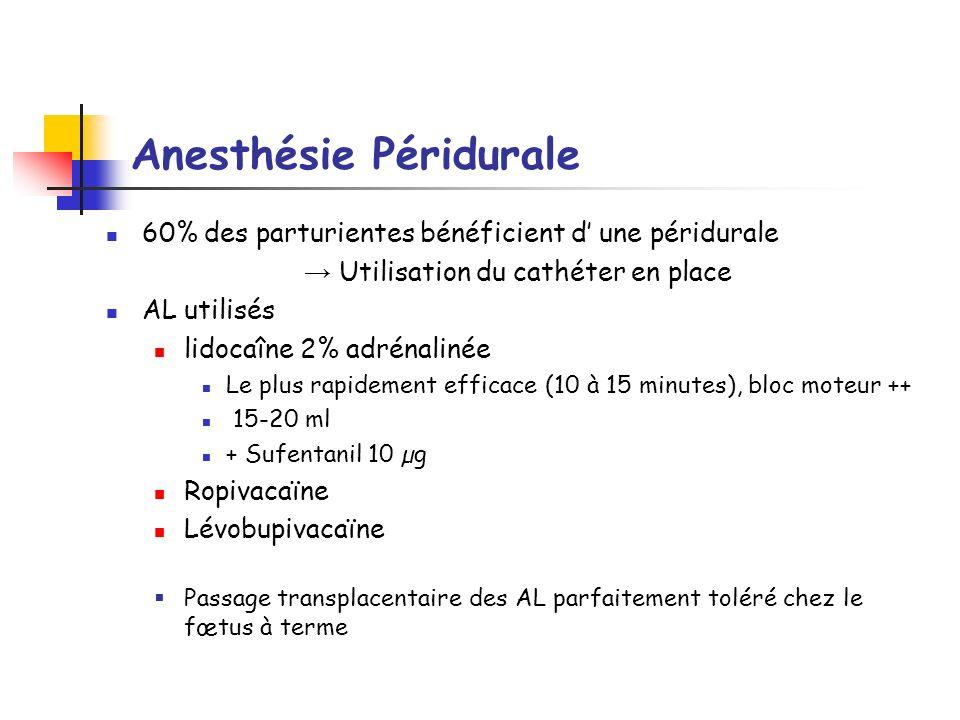 Anesthésie Péridurale 60% des parturientes bénéficient d une péridurale Utilisation du cathéter en place AL utilisés lidocaîne 2% adrénalinée Le plus