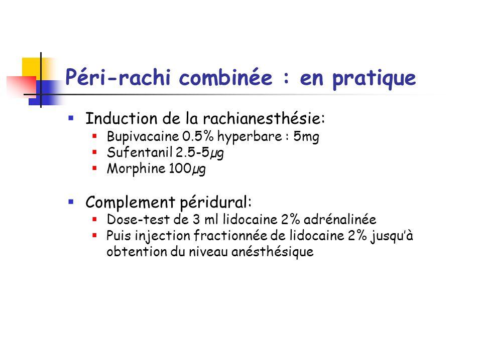Péri-rachi combinée : en pratique Induction de la rachianesthésie: Bupivacaine 0.5% hyperbare : 5mg Sufentanil 2.5-5µg Morphine 100µg Complement périd