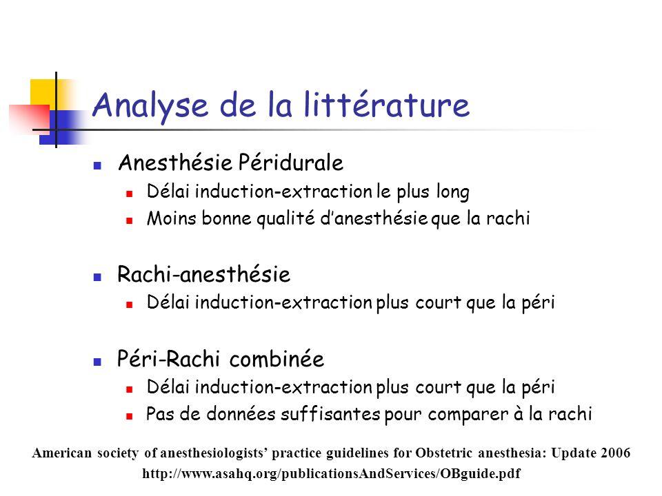 Analyse de la littérature Anesthésie Péridurale Délai induction-extraction le plus long Moins bonne qualité danesthésie que la rachi Rachi-anesthésie