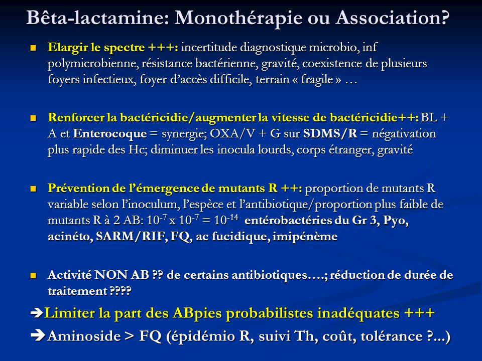 Bêta-lactamine: Monothérapie ou Association? Elargir le spectre +++: incertitude diagnostique microbio, inf polymicrobienne, résistance bactérienne, g