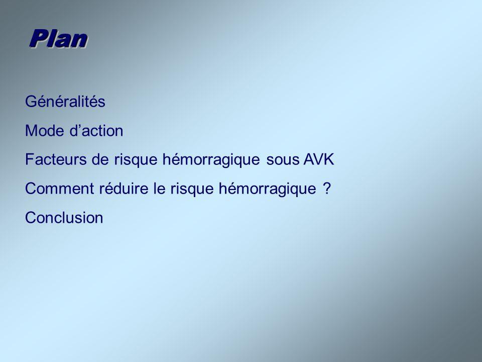 Généralités (1) AVK largement prescrits Seuls anticoagulants oraux disponibles Indications - 80% cardiologiques AC/FA Valves mécaniques, cardiopathies ischémiques… Certains pontages vasculaires - 20 % Maladie thromboembolique veineuse 600.000 patients sous AVK en France (1% de la population)