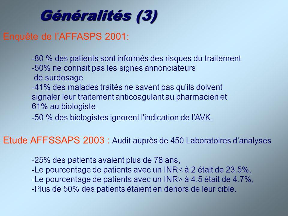 Généralités (3) Enquête de lAFFASPS 2001: -80 % des patients sont informés des risques du traitement -50% ne connait pas les signes annonciateurs de s