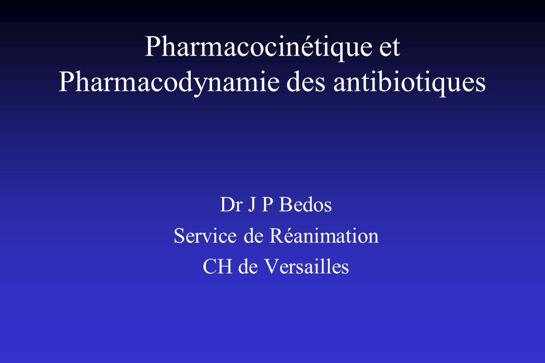 Pharmacodynamie des fluoroquinolones: conclusions Concentration et dose-dépendance Pic/CMI et ASC/CMI prédictifs de lactivité Valeurs seuils prédictives de lactivité in vivo: Pic/CMI > 12 ASC/CMI # 125 pour infections sévères de réanimation Impact majeur de toute élévation de la CMI sur la probabilité datteindre la cible.