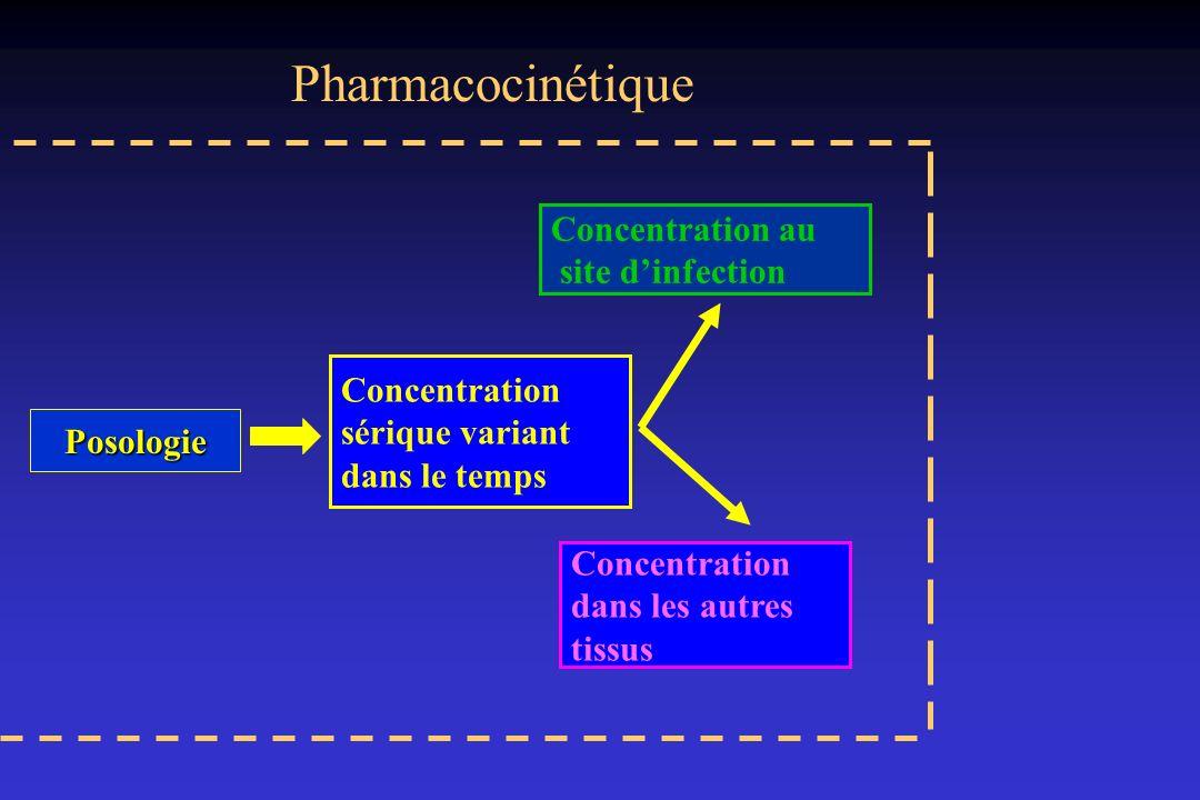 Pharmacodynamie de la vancomycine Bactéricidie lente temps dépendante : Objectif Pk/Pd: C Résiduelle = 25/30 mg/l; AUIC > 250 –Injections répétées (4/Jour): 750 mg x 4/j –Perfusion continue :pour atteindre concentrations de 25 à 35 mg/l (sérum) 4 à 7 mg/l (LCR) –Durée pour Css 3 à 5 j Conclusion : Dose de Charge (15 mg/kg IVSE 1h) puis 60 mg/kg/24h (Brinquin et col) CMI