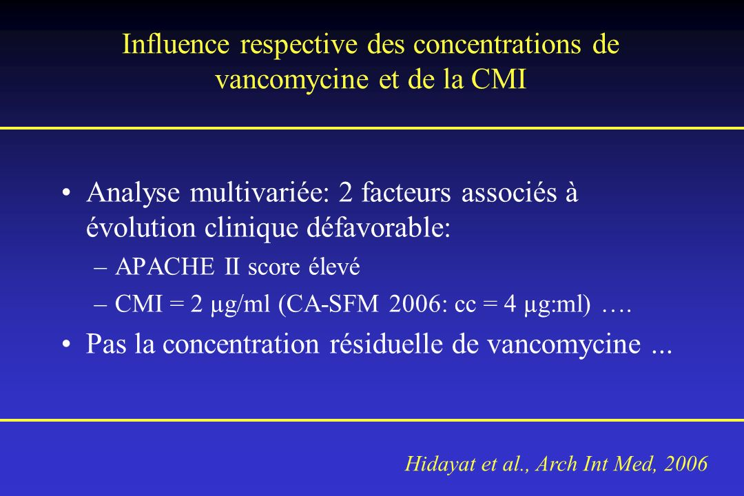 Influence respective des concentrations de vancomycine et de la CMI Analyse multivariée: 2 facteurs associés à évolution clinique défavorable: –APACHE