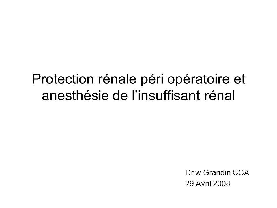 Protection rénale péri opératoire et anesthésie de linsuffisant rénal Dr w Grandin CCA 29 Avril 2008