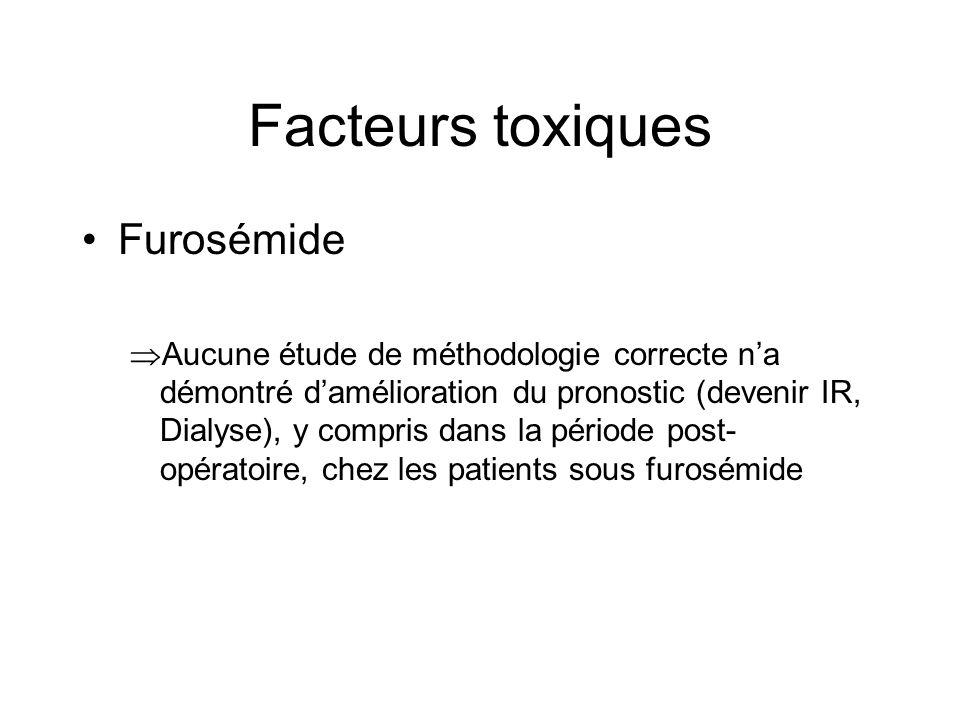 Facteurs toxiques Furosémide Aucune étude de méthodologie correcte na démontré damélioration du pronostic (devenir IR, Dialyse), y compris dans la pér