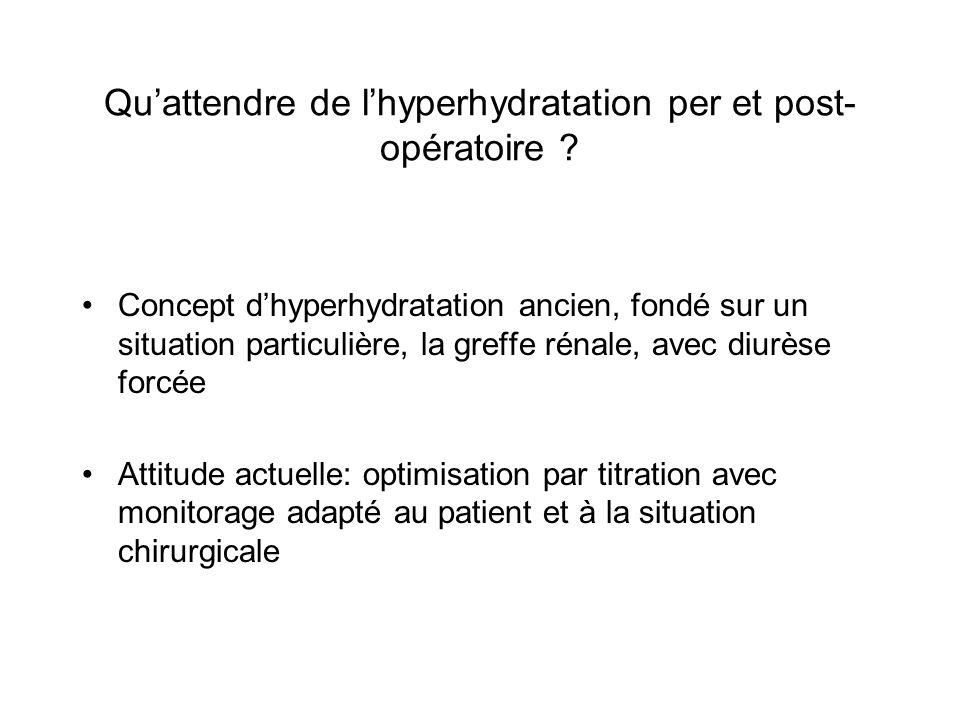 Quattendre de lhyperhydratation per et post- opératoire ? Concept dhyperhydratation ancien, fondé sur un situation particulière, la greffe rénale, ave