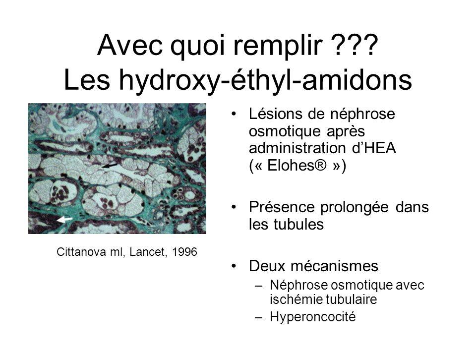 Avec quoi remplir ??? Les hydroxy-éthyl-amidons Lésions de néphrose osmotique après administration dHEA (« Elohes® ») Présence prolongée dans les tubu