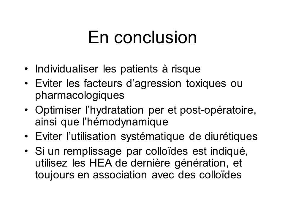 En conclusion Individualiser les patients à risque Eviter les facteurs dagression toxiques ou pharmacologiques Optimiser lhydratation per et post-opér