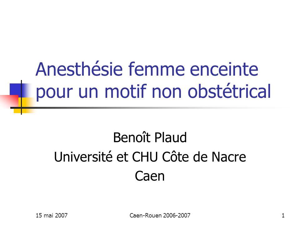 15 mai 2007Caen-Rouen 2006-20071 Anesthésie femme enceinte pour un motif non obstétrical Benoît Plaud Université et CHU Côte de Nacre Caen