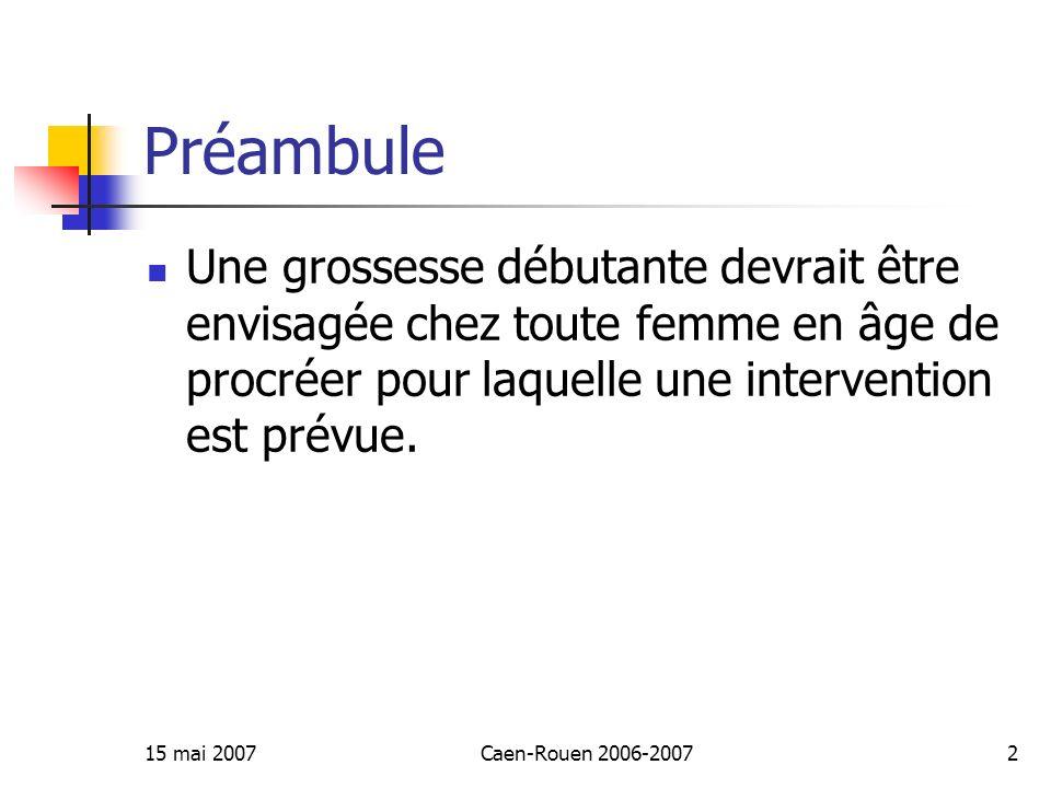 15 mai 2007Caen-Rouen 2006-20072 Préambule Une grossesse débutante devrait être envisagée chez toute femme en âge de procréer pour laquelle une interv