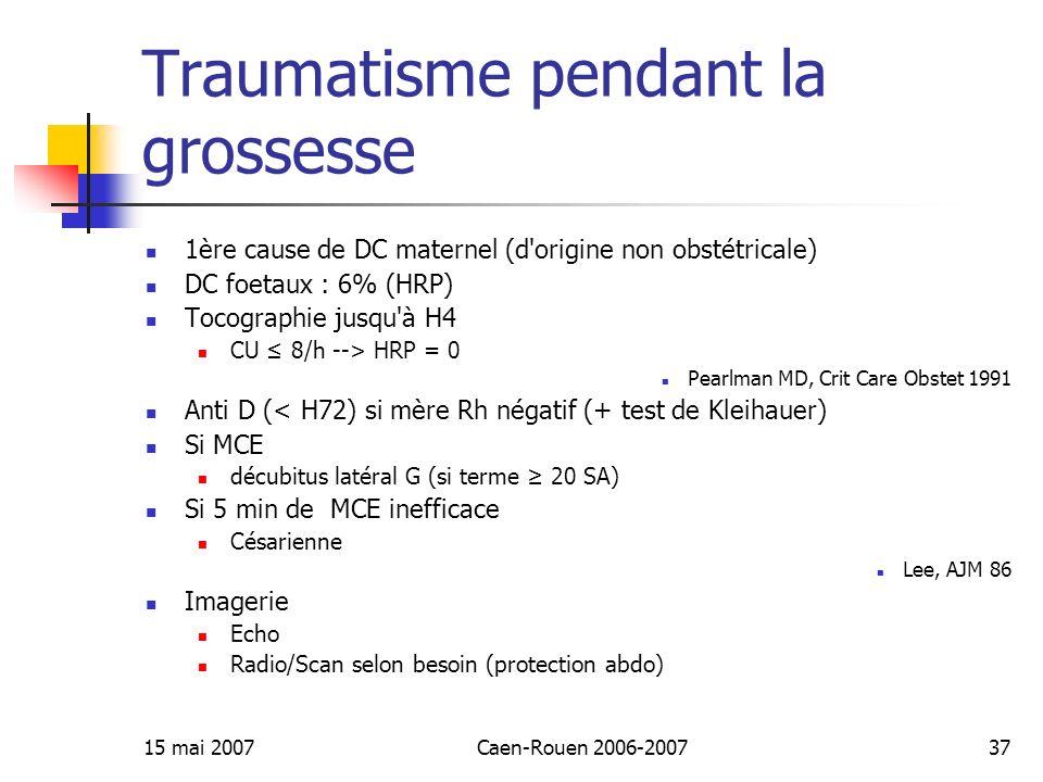 15 mai 2007Caen-Rouen 2006-200737 Traumatisme pendant la grossesse 1ère cause de DC maternel (d'origine non obstétricale) DC foetaux : 6% (HRP) Tocogr