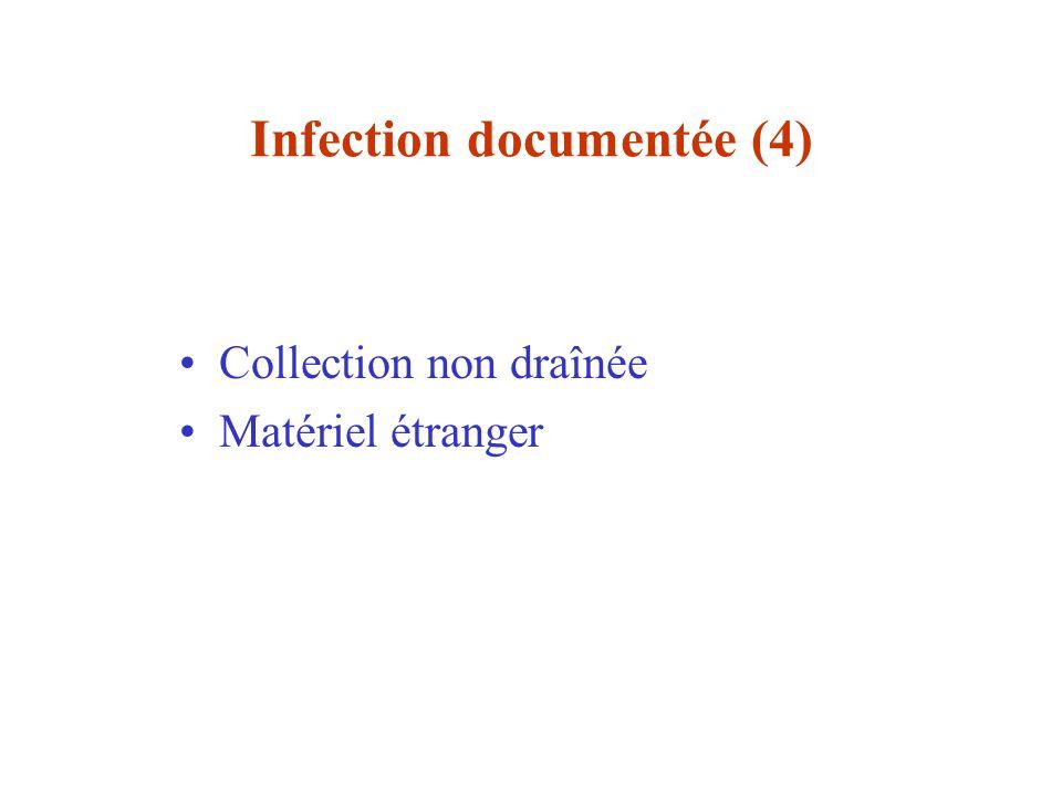 Infection documentée (4) Collection non draînée Matériel étranger