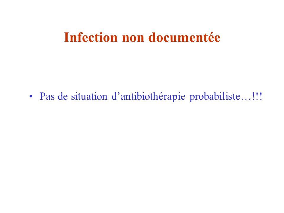 Infection non documentée Pas de situation dantibiothérapie probabiliste…!!!