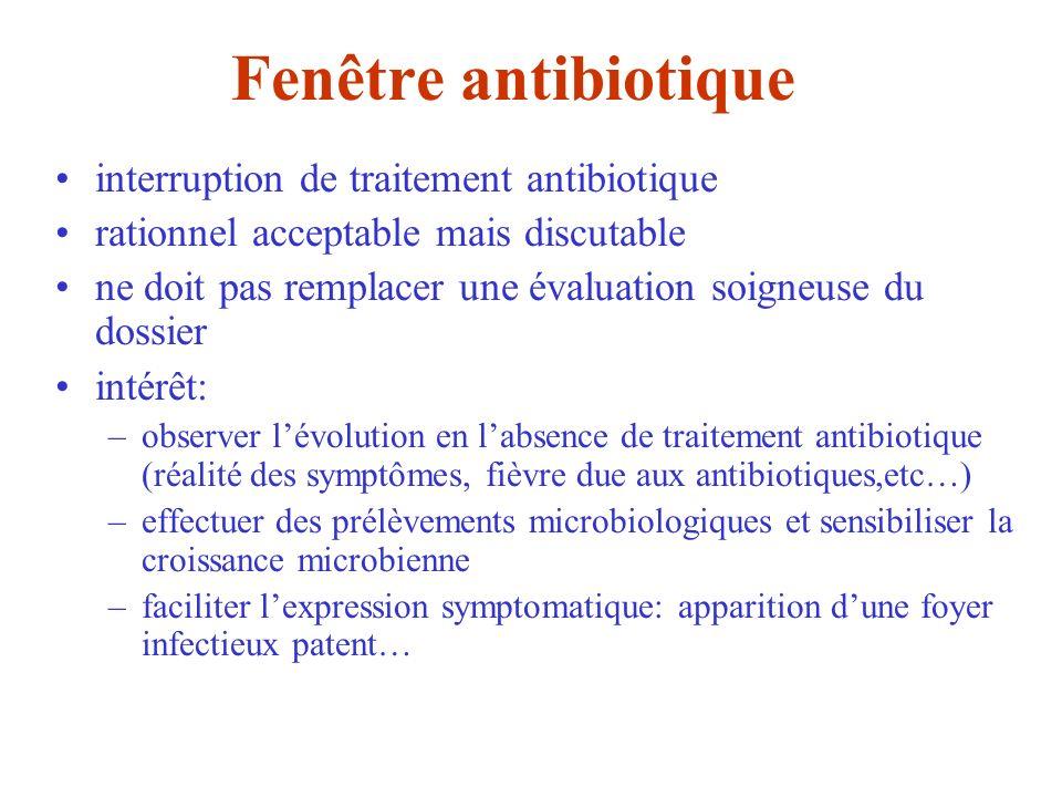Fenêtre antibiotique interruption de traitement antibiotique rationnel acceptable mais discutable ne doit pas remplacer une évaluation soigneuse du do