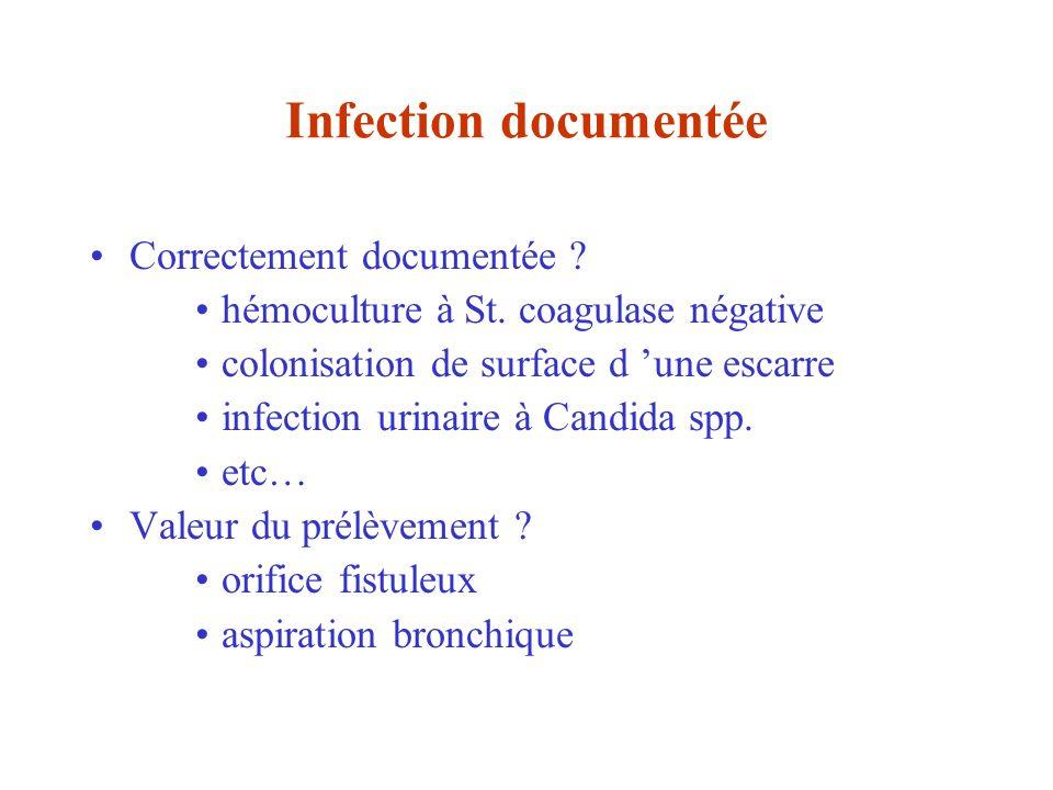 Infection documentée Correctement documentée ? hémoculture à St. coagulase négative colonisation de surface d une escarre infection urinaire à Candida