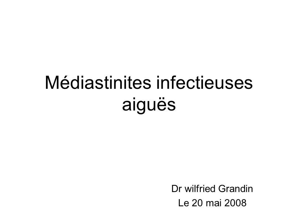 Médiastinites infectieuses aiguës Dr wilfried Grandin Le 20 mai 2008
