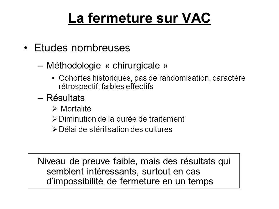 La fermeture sur VAC Etudes nombreuses –Méthodologie « chirurgicale » Cohortes historiques, pas de randomisation, caractère rétrospectif, faibles effe