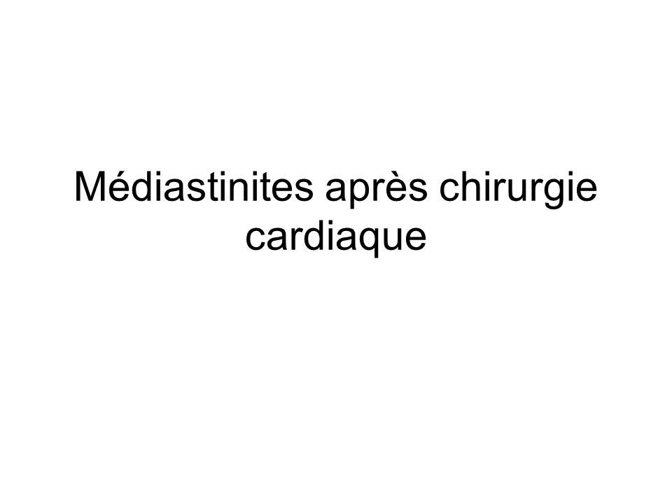 Prise en charge Traitement chirurgical < 24 heures Détersion de la cavité médiastinale Excision des tissus dévitalisés Fermeture de la paroi… URGENCE INFECTIEUSE