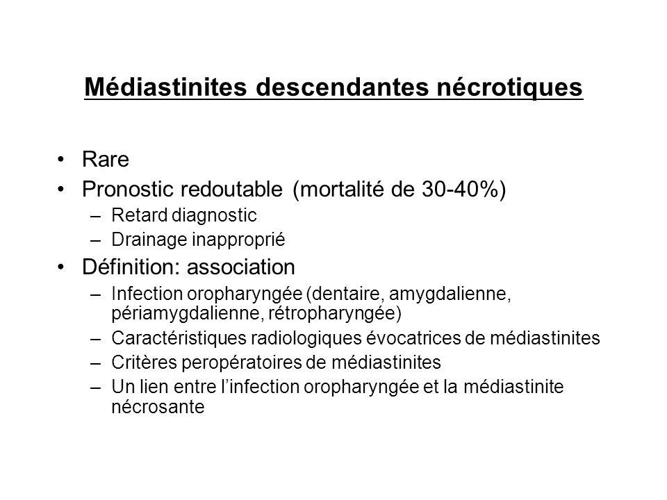 Rare Pronostic redoutable (mortalité de 30-40%) –Retard diagnostic –Drainage inapproprié Définition: association –Infection oropharyngée (dentaire, am
