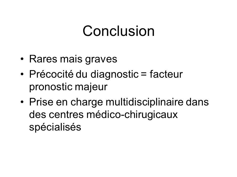 Conclusion Rares mais graves Précocité du diagnostic = facteur pronostic majeur Prise en charge multidisciplinaire dans des centres médico-chirugicaux