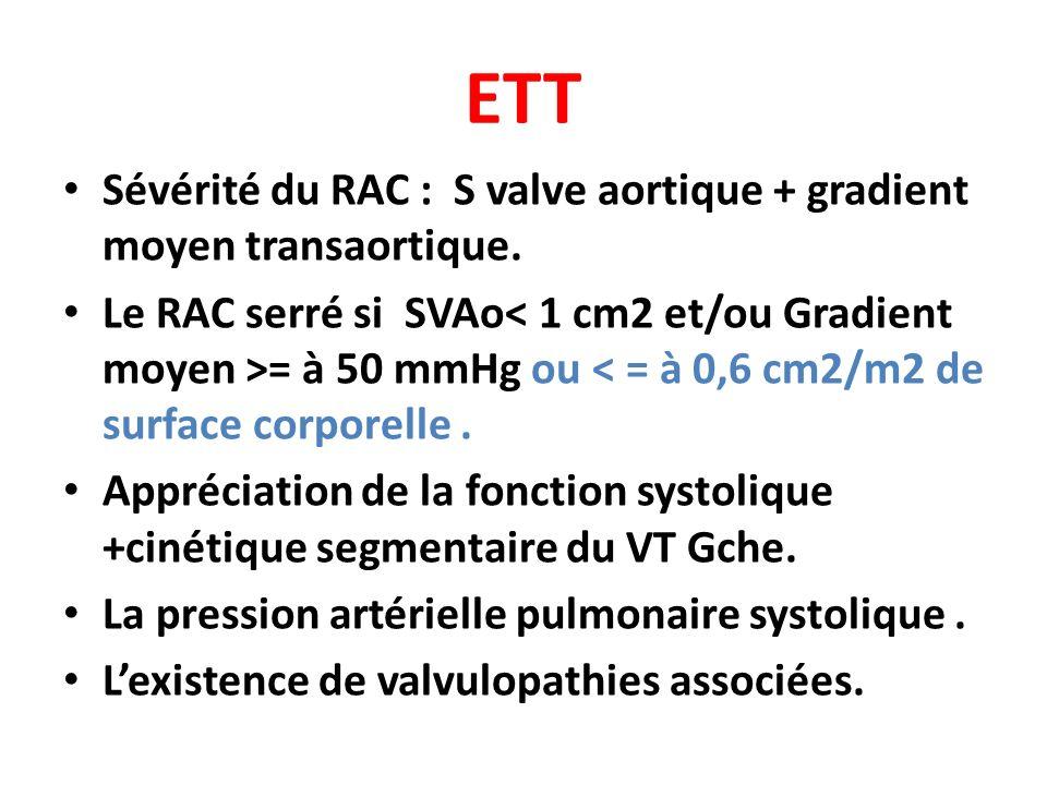 ETT Sévérité du RAC : S valve aortique + gradient moyen transaortique. Le RAC serré si SVAo = à 50 mmHg ou < = à 0,6 cm2/m2 de surface corporelle. App