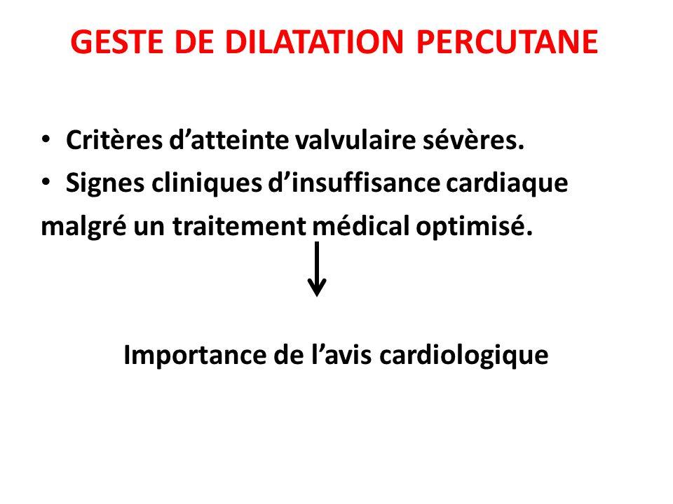 GESTE DE DILATATION PERCUTANE Critères datteinte valvulaire sévères. Signes cliniques dinsuffisance cardiaque malgré un traitement médical optimisé. I