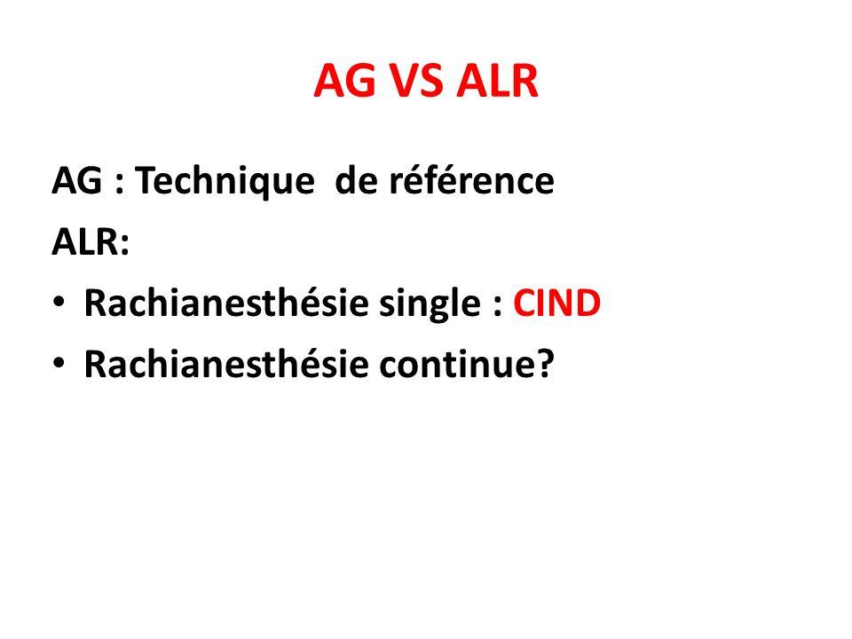 AG VS ALR AG : Technique de référence ALR: Rachianesthésie single : CIND Rachianesthésie continue?
