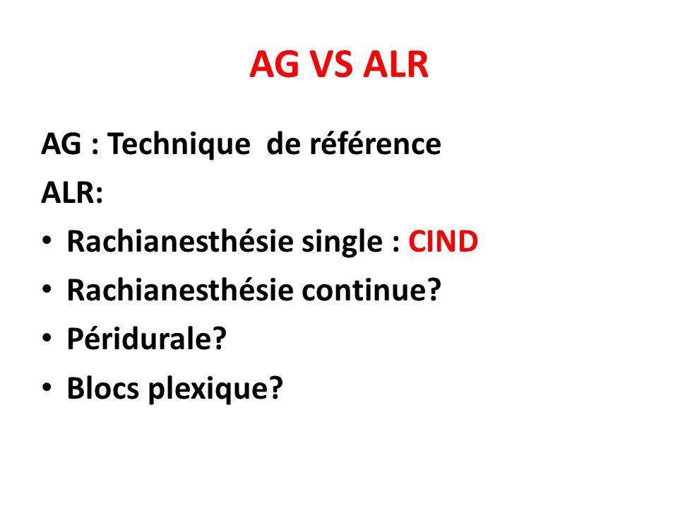 AG VS ALR AG : Technique de référence ALR: Rachianesthésie single : CIND Rachianesthésie continue? Péridurale? Blocs plexique?